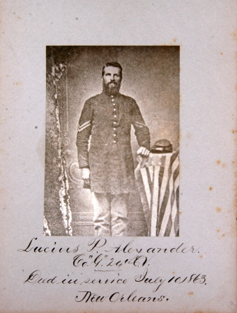 Lucius P. Alexander was born around the year 1832, and worked as a mechanic before enlisting in the 24th Connecticut Volunteers at Camp Mansfield, in Hartford in October of 1862. He served as a Corporal in Company G until he was transferred to Company I in March of 1863. Shortly afterward, on July 10 of the same year, Alexander died in service at New Orleans, and was brought home for burial in Middlefield Cemetery.